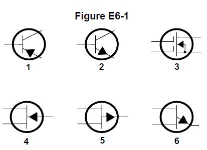 In figure e6 1 the schematic symbol for a pnp transistor is 1 e6a07 2 is the schematic symbol for an npn transistor the arrow in both symbols