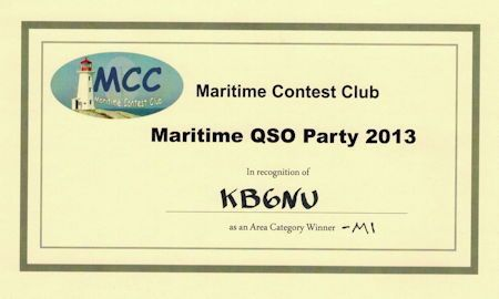 Maritime QSO Party certificate