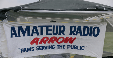 Our club banner hanging on the public information tent at the entrance to our Field Day site.